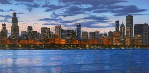 Chicago at Dusk from the Adler 48x24