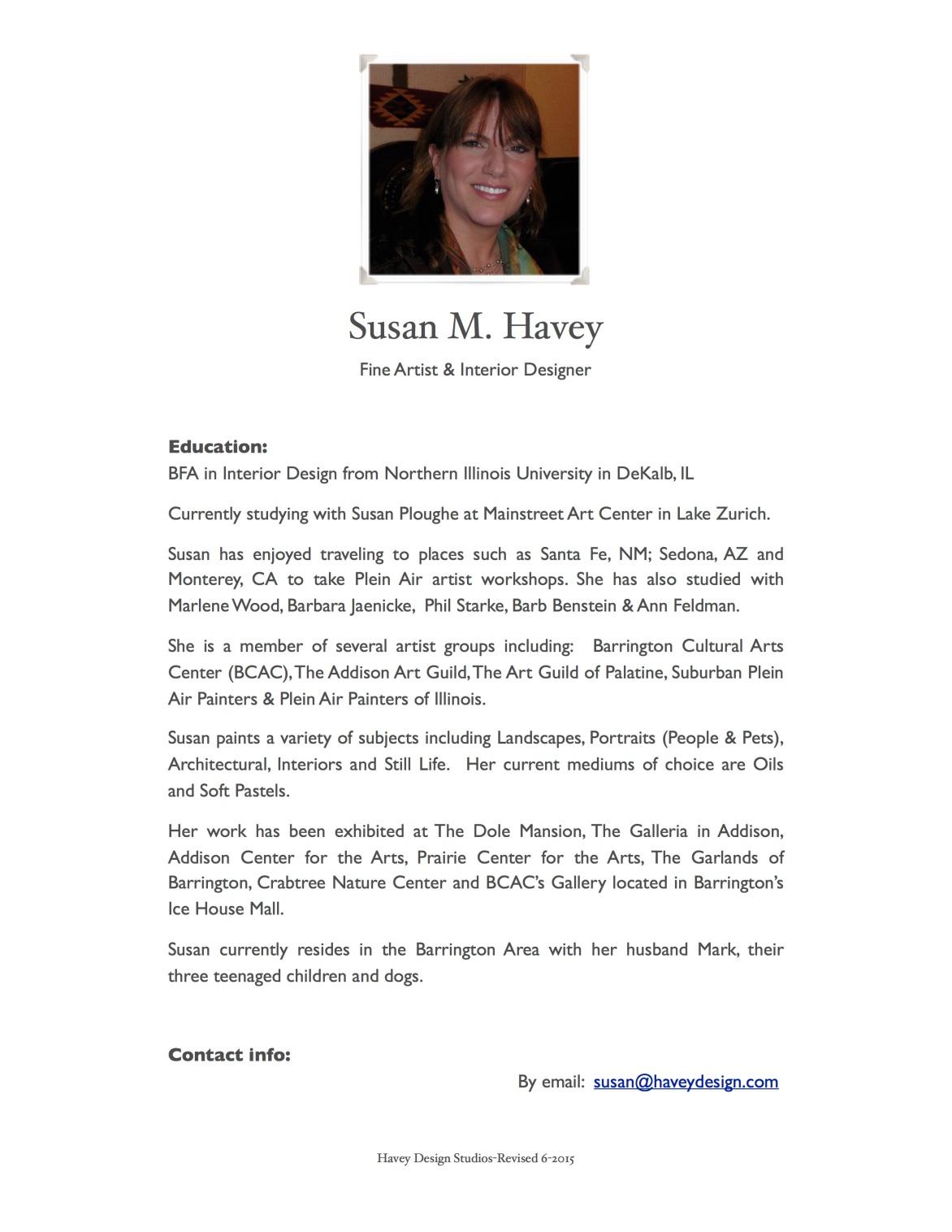 Susan's Artist Bio June 7, 2015